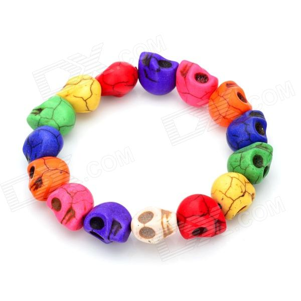 Young Beautiful Mixed-Color Turquoise Skull Bracelet браслет с брелоками turquoise natural stone bead bracelet 1 x 2 x 4 x