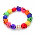 Young Beautiful Mixed-Color Turquoise Skull Bracelet