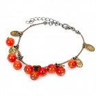 Fashion MC Agate Beads Bracelet - Claret