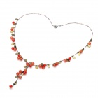 Elegant Agate Beads Necklace - Wine Red