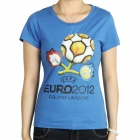 Women's UEFA Euro 2012 Poland-Ukraine Official Logo Short Sleeves Cotton T-Shirt - Blue (Size S)