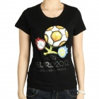 UEFA Euro 2012 Logo Image Pattern Short Sleeves Cotton T-Shirt for Women - Black (Size M)