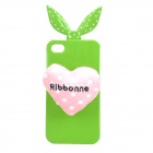 Protective Cute Bunny Ears and Love Heart Style Soft TPU Back Case for iPhone 4 / 4S - Green + Pink
