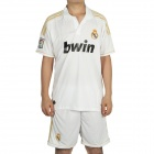 Real Madrid Football Team Home Jersey Shirt & Shorts Set - White + Black (Size L)