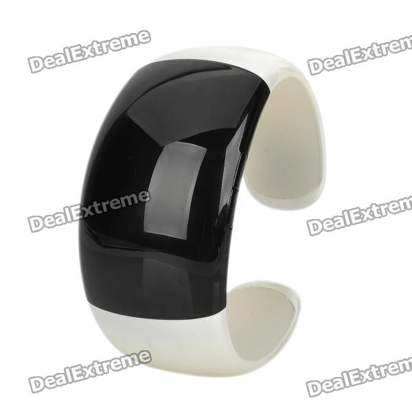 Stylish Bluetooth V3.0 Bracelet w/ Vibration Function + Digital Time - White + Black