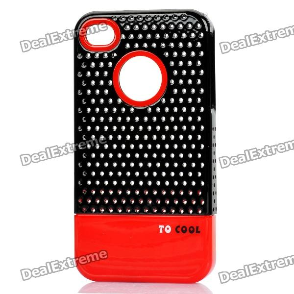 Fashion Stylish 3-in-1 Protective Back Cover Case for Iphone 4/4S - Red/White + Black 3 in 1 fish eye macro wide angle clip lens white black