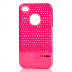 Fashion Stylish 3-in-1 Protective Back Cover Case for Iphone 4/4S - Pink + White + Deep Pink