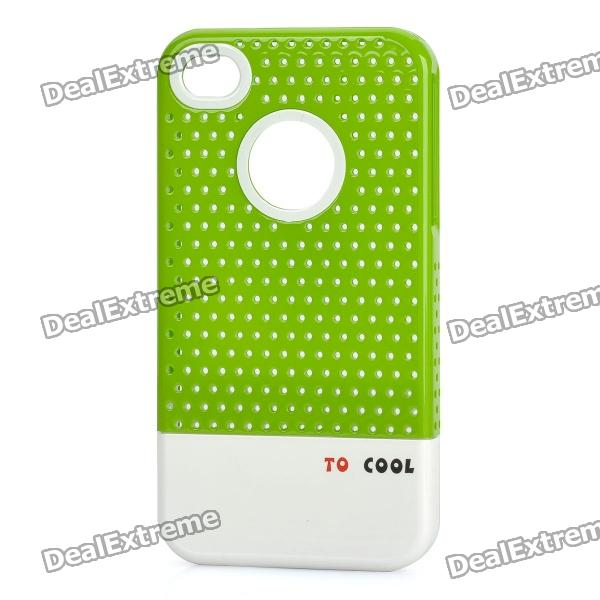 Fashion Stylish 3-in-1 Protective Back Cover Case for Iphone 4/4S - Green + White + Black stylish bubble pattern protective silicone abs back case front frame case for iphone 4 4s
