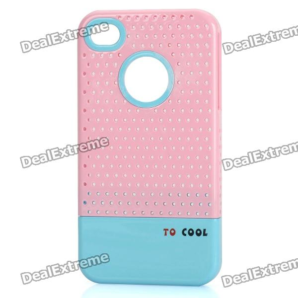 Fashion Stylish 3-in-1 Protective Back Cover Case for Iphone 4/4S - Pink + White + Blue cool skull head style protective soft silicone back case for iphone 4 4s pink