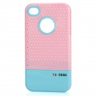Fashion Stylish 3-in-1 Protective Back Cover Case for Iphone 4/4S - Pink + White + Blue