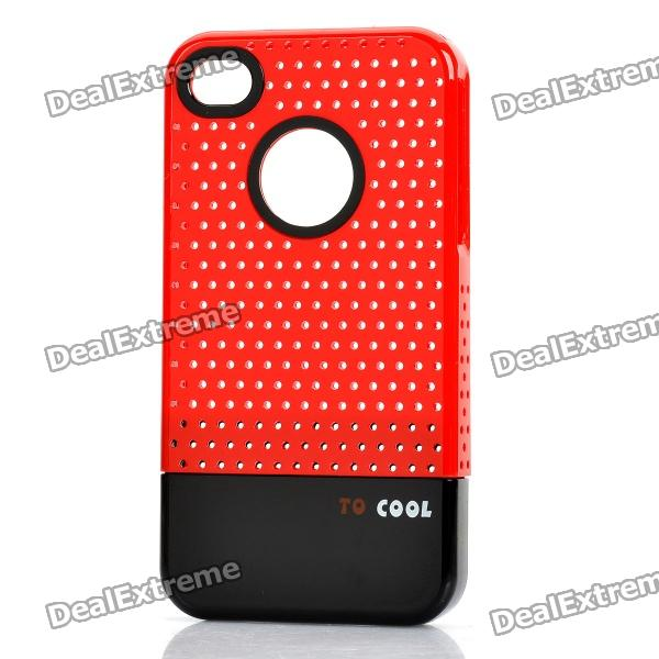 Fashion Stylish 3-in-1 Protective Back Cover Case for Iphone 4/4S - Red + Black stylish bubble pattern protective silicone abs back case front frame case for iphone 4 4s