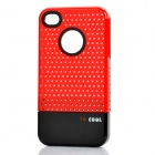 Fashion Stylish 3-in-1 Protective Back Cover Case for Iphone 4/4S - Red + Black