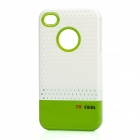 Fashion Stylish 3-in-1 Protective Back Cover Case for Iphone 4/4S - White + Green + Black