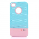 Fashion Stylish 3-in-1 Protective Back Cover Case for Iphone 4/4S - Blue + White + Pink