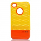Fashion Stylish 3-in-1 Protective Back Cover Case for Iphone 4/4S - Yellow + Orange + White