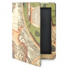 Protective Map Designed PU Leather Case for the New iPad - Green + Beige