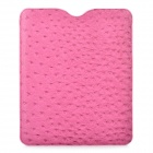 Stylish Protective PU Leather Case with Ostrich Grain for Ipad / Ipad2 / New Ipad - Deep Pink