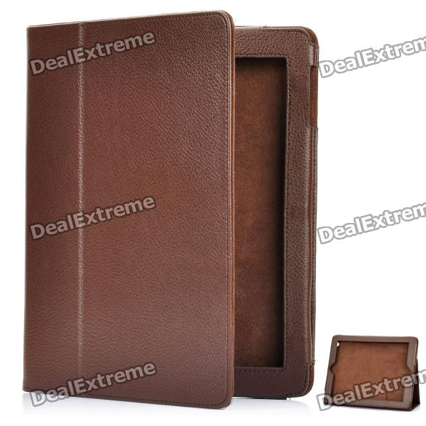 Protective Sheepskin Leather Case with Screen Protector for New Ipad - Brown protective matting screen protector guard with cleaning cloth for new ipad