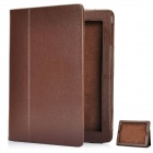 Protective Sheepskin Leather Case with Screen Protector for New iPad - Brown