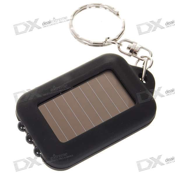 3-LED Solar Panel LED Flashlight Keychain