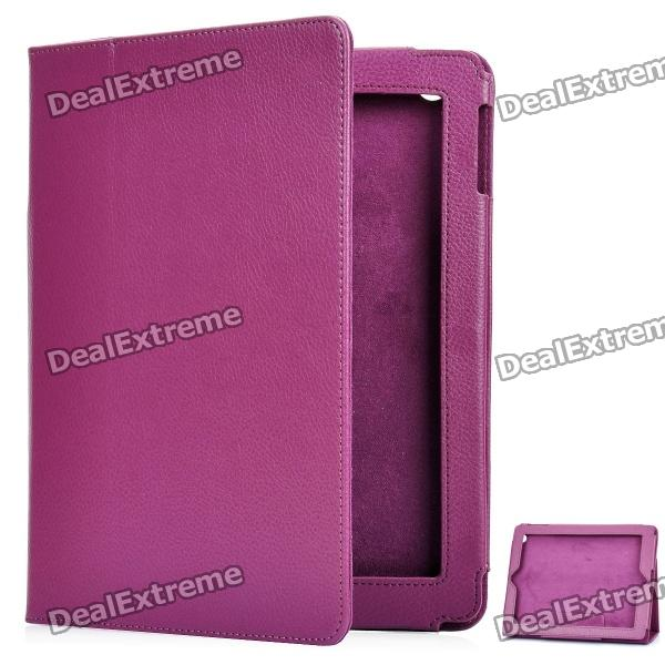 Protective Sheepskin Leather Case with Screen Protector for New Ipad - Purple protective matting screen protector guard with cleaning cloth for new ipad