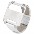 Wrist Watch Style Protective Metal Case w/ Leather Band for iPod Nano 6 - White