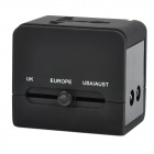 5-in-1 Travel Charging Adapter Charger w/ UK / Europe / USA / AUST / USB / Universal Socket - Black
