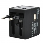 5-i-1 Resor Laddningsadapter Laddare w / UK / Europa / USA / AUST / USB / Universal Socket - Svart