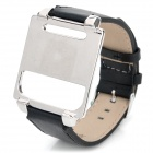 Wrist Watch Style Protective Metal Case w/ Leather Band for iPod Nano 6 - Black
