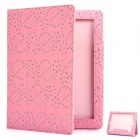 Protective Flower Pattern PU Leather Case for New Ipad - Pink