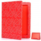 Protective Flower Pattern PU Leather Case for New Ipad - Red