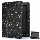 Protective Flower Pattern PU Leather Case for New Ipad - Black
