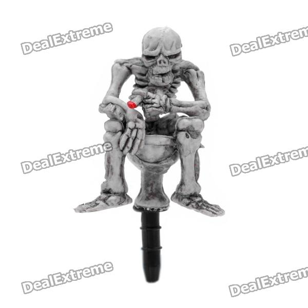 Cool Death Skull Style Anti-Dust Plug for Iphone / Ipad / 3.5mm Audio Jack - Grey White