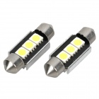 36mm 1.8W 39LM 6000-6500K White 3-SMD 5050 LED Car Reading Light (DC 12V / Pair)