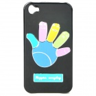 Protective Back Case Cover with Palm Image Pattern for Iphone 4 / 4S - Black