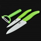 Chic Chefs Horizontal Ceramic Knives with Peeler Set - Green