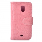 Crocodile Pattern Protective PU Leather Case for Samsung Galaxy Nexus i9250 - Pink