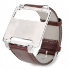 Wrist Watch Style Protective Metal Case w/ Leather Band for iPod Nano 6 - Brown