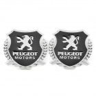 Decorative Peugeot Emblem Logo Badge Car Sticker - Silver + Black (Pair)