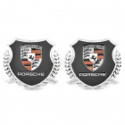 Decorative Porsche Logo Badge Emblem Car Sticker - Silver + Black (Pair)
