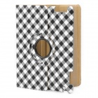 Stylish Plaid Pattern Protective PU Leather Swivel Holder Case for Ipad 2 - Black + White