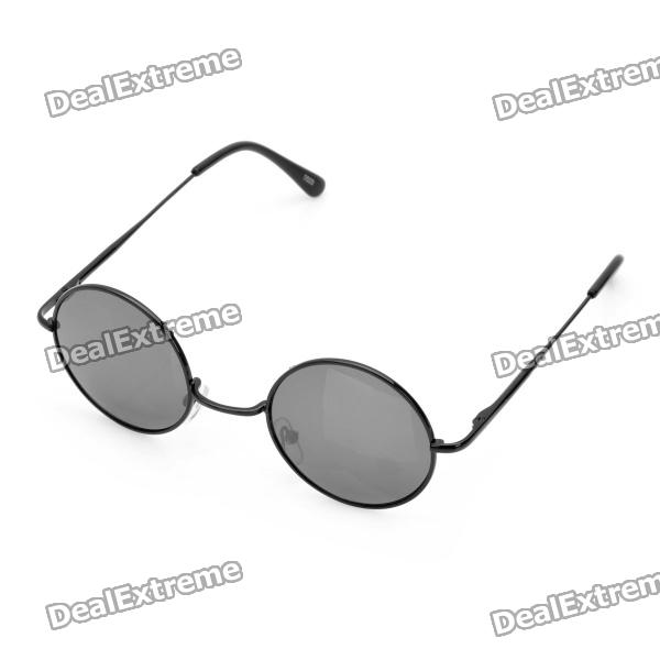 Fashion Round Resin Lens UV 400 Protection Sunglasses - Black fashion uv400 protection round shape resin lens sunglasses wine red