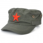 Leisure Flat Top Red Star Hat - Army Green