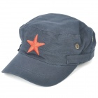 Cool Cotton Cap Hat with Red Star - Deep Blue