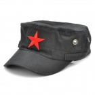 Cool Pentagram Pattern Flat Top Cotton Cap Hat - Black + Red