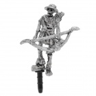 Cool Skull Archer Style Anti-Dust Plug for Iphone / Ipad / 3.5mm Audio Jack - Grey White
