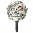 Cool One Eye Skull Style Anti-Dust Plug for Iphone / Ipad / 3.5mm Audio Jack - Grey White + Red