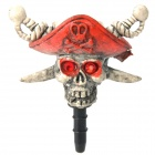 Cool Pirate Skull Style Anti-Dust Plug for Iphone / Ipad / 3.5mm Audio Jack - Grey White + Red