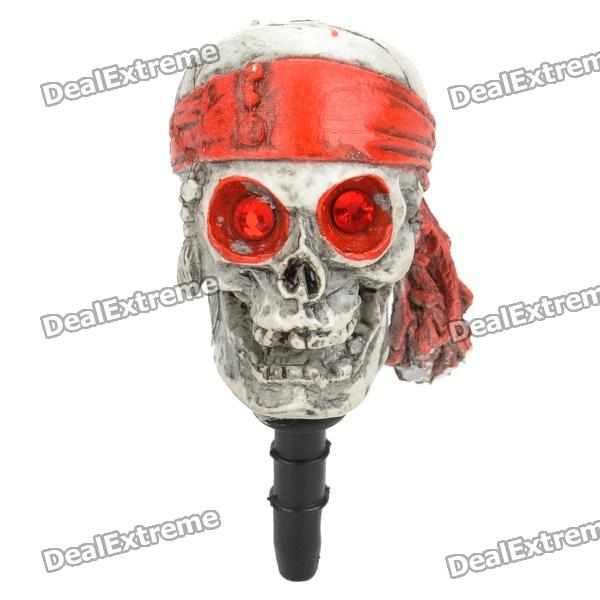 Cool Pirate Skull Style Anti-Dust Plug for 3.5mm Audio Jack - Grey