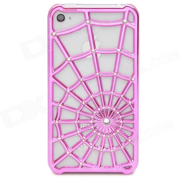 Spider Web Pattern Protective PC Case Cover for Iphone 4 / 4S - Rose Red kavaro swarovski rose gold plated pc hard case for iphone 6s 6 mandala pattern